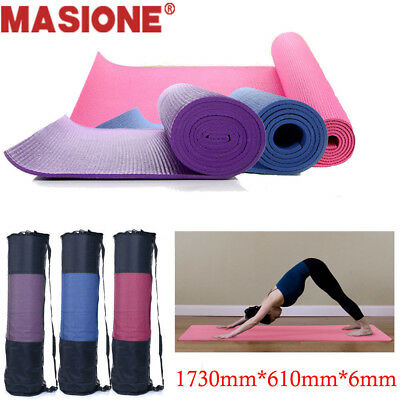 "Yoga Mat 6mm Thick PVC Gym Exercise Pilates High Density Pad w/Carry Bag 68""x24"""