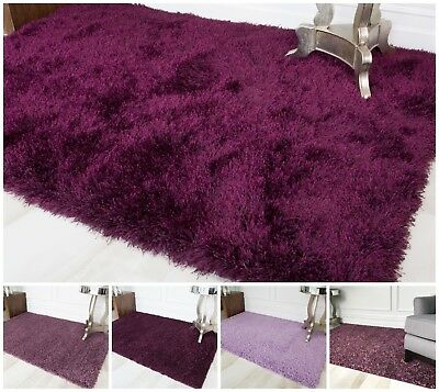 Cosy Thick Soft Purple Shaggy Rug Fluffy Mauve Violet Non Shed Living Room Mats