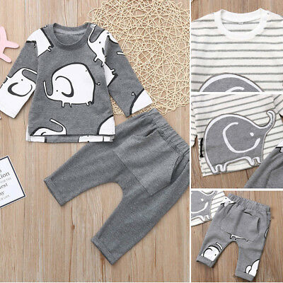 Newborn Baby Boys Girl Striped Elephant T-Shirt Tops+Long Pants Clothes Outfits