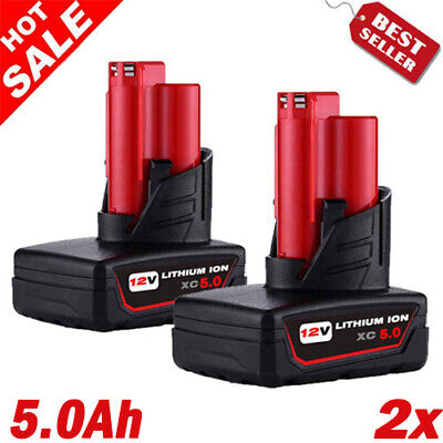 2X For Milwaukee M12 Lithium XC 5.0 Ah Battery 48-11-2460 48-11-2440 48-11-2411