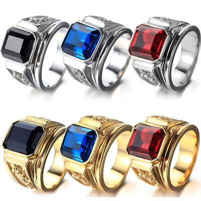 Fashion Men Silver Gold Plated Square Crystal Jewellery Dragon Animal Punk Ring