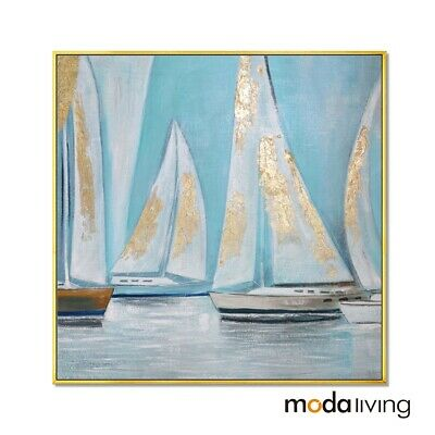 New Hand Painted Modern Abstract Oil Painting Canvas Wall Art Framed Sailboat