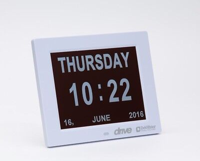 "Large 8"" Digital Display Calendar Time Date Day Dementia Clock"