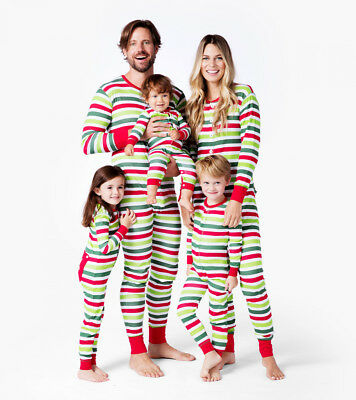 AU Christmas Family Matching Union Suit Pajamas PJs Stripe Sleepwear Nightwear
