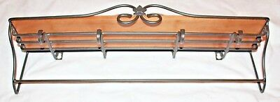 Longaberger  Black Wrought Iron Towel Coat Hanging Wall Rack w/ Maple Shelf