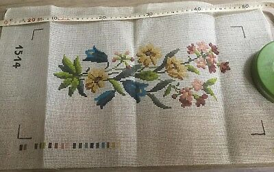 Pre Printed Canvas of flowers for Cross Stitch or Needlework. Unknown make.