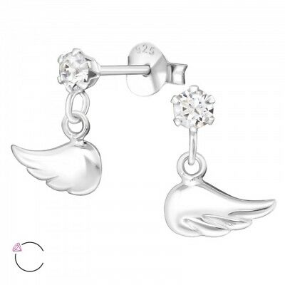 925 Sterling Silver Crystal Wings Angel 10x5mm Stud Earrings & Gift Box #14