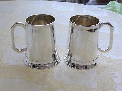 Pair Of Glass Bottom 'c' Handle One Pint Silver Plated Tankards   1390202/205