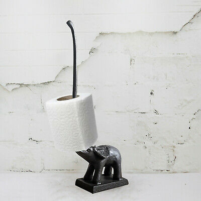Elephant Toilet/Kitchen Roll Holder Free Standing Cast Iron Novelty Vintage