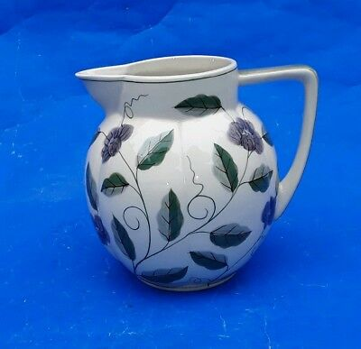 Laura Ashley Hand Painted Jug - 1992 - Cream background - Green Leaves & Flowers