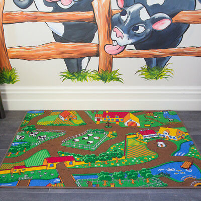Kids Fun Interactive Countryside Farm Mat Tractor Animals Children Bedroom Rugs