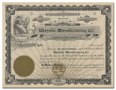 Wayside Manufacturing Company Stock Certificate (Massachusetts)