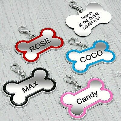 FREE ENGRAVING Dog ID / Cat ID Name Tag Bone Personalised Puppy Pet ID Tags