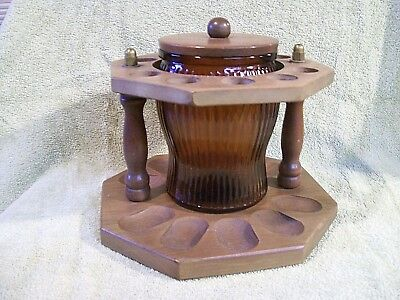 Vintage Wooden Pipe Stand With Humidor Glass