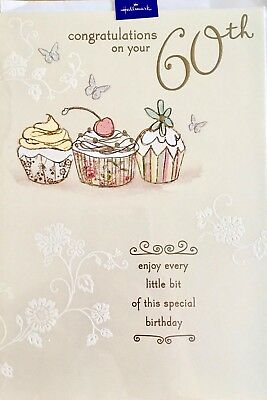 Hallmark 60th Birthday Card For Her Congratulations Cupcake Theme
