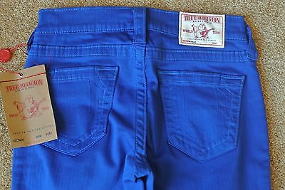 TRUE RELIGION HALLE SUPER SKINNY ROYAL BLUE Jeans 24X30 NWT$249 Mid-Rise-STRETCH