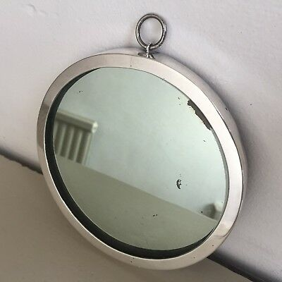 Antique Solid Silver Mirror Round Wall Strut Hamilton & Co c.1914-1919 13cm m52