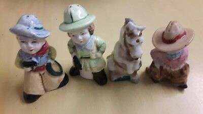 Rare 2 Pairs of Vintage Japanese Novelty Salt &Pepper cowboys & cowgirls sets