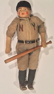 Very Rare Antique Circa 1914 Composition New York Baseball Doll Bat Yankees Old