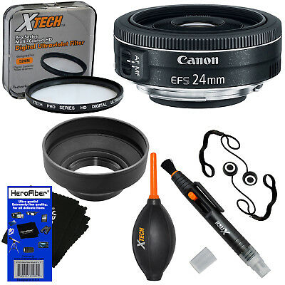 Canon EF-S 24mm f/2.8 STM Lens for Canon DSLR Cameras + 7pc Accessory Kit