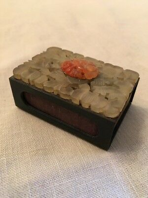 Old Rare Vintage Antique Asian China Chinese Matchbox Case Jade Coral Brass