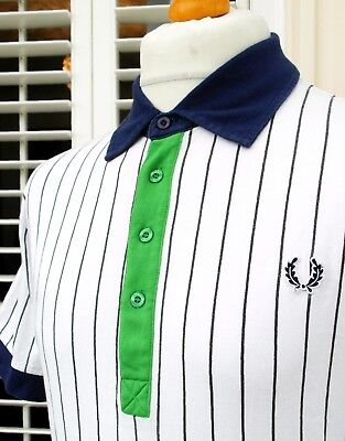 """Fred Perry White/Navy Pinstripe Polo T-Shirt L - 42"""" - Ska Mod Scooter Casuals"""