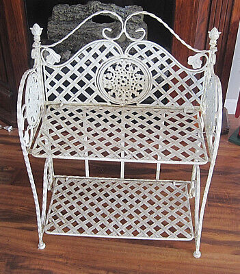 Vintage Wrought Iron Foldable Two Shelves Stand