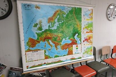 Nystrom Pull Down School  MapS Europe  Vintage 60s Shabby Wall Display 2 MAP