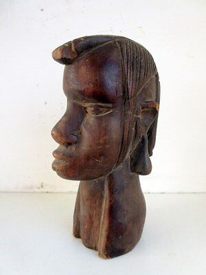 Vintage Old Hand Carved Rosewood African Tribal Woman Face Head Statue Sculpture