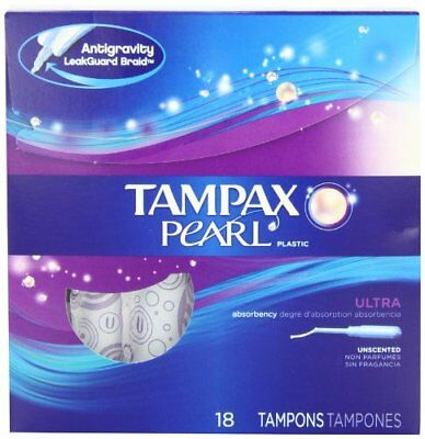 5 Pack Tampax Pearl Ultra Absorbency Unscented Tampons 18 Count Each