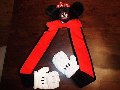 Disney Parks MINNIE MOUSE Ears Plush Hat with Scarf Mittens Size Youth
