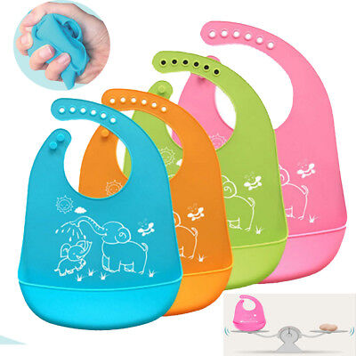 Waterproof Baby Soft Silicone Bibs Feeding bib Kids Roll up Food Catcher Pocket