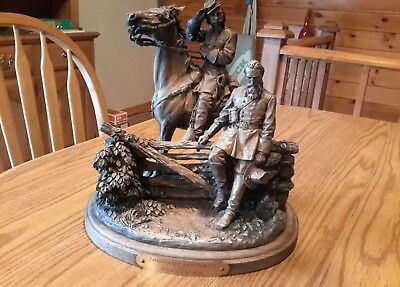 Civil War Longstreet And Picket By Ron Tunison Cold Cast Bronze Sculpture.