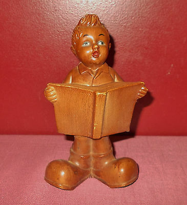 Vintage Hummel Style LITTLE BOY with BOOK FIGURINE Wood Look Resin *
