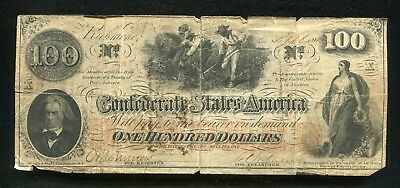 1862 $100 Csa Confederate States Of America Note With Wwii Inscriptions