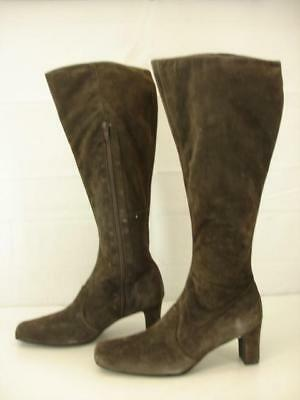 Womens 11 B M Newport News Brown Suede Leather Knee High Boots Side Zip Tall NEW