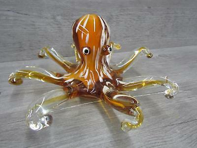 Vintage Murano Summerso Style Glass Octopus Yellow Amber White Swirl