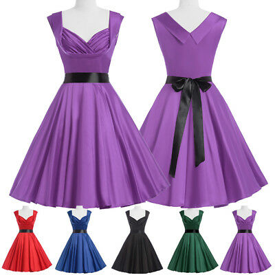 Vintage Style Women's 1950's 60's Swing Draped TEA Party Cocktail Evening Dress