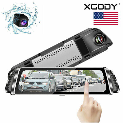 HD 1080P Dual Lens Car Auto DVR Mirror Dash Cam Recorder + Rear View Camera Kits