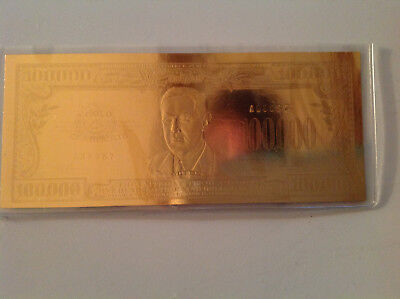 $100,000 Gold Bill Leaf Tribute Certificate National Collector's Mint