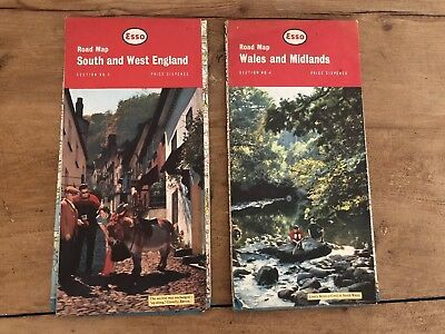 2 Vintage Road Maps from Esso - No 3 Wales & Midlands. No 4 South & West England