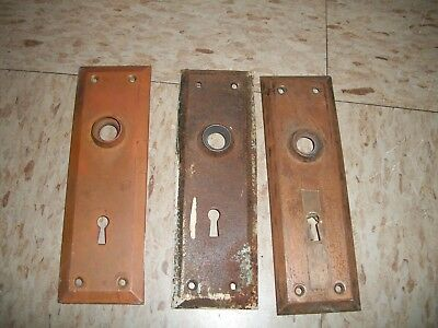 Lot of 3 vintage Brass Door Plates w Skeleton Key Holes reclaimed from old home
