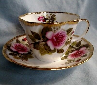 Rosina China Queens Pink Rose Cup and Saucer - Gold Trim