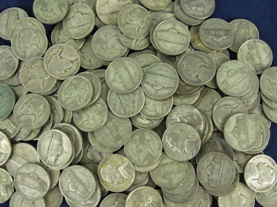 Roll Circulated Silver War Nickels 1942 - 1945 - 40 Coins - $2 Face Value