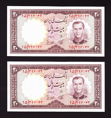 Pick 69  UNC  Authentic  BANKNOTE PAIR Year 1958 UNC