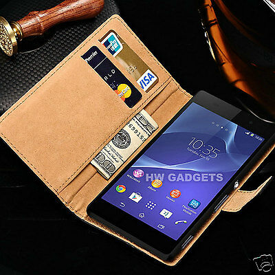 Genuine Real Leather Slim Flip Wallet Case Cover for Sony Xperia XA1