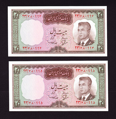 Pick 78a  UNC  Authentic  BANKNOTE PAIR Year 1965 UNC