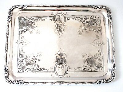 Antique Tray Silver Plate Aesthetic Medallion Portrait Greek Revival RARE