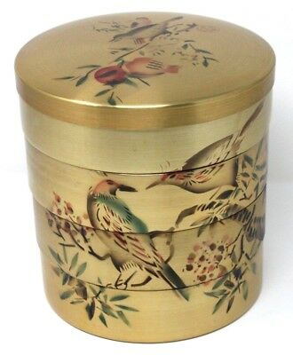 VINTAGE Set of 4 Nesting Stacking Gold Aluminum Bowls w/ Lid, Stencil Birds