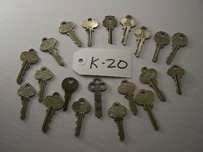 Lot of 20 antique keys, Yale, Schroder, Segal, Corbin, Master and others